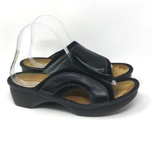 NAOT Black Leather and Suede Sandals Black W 39